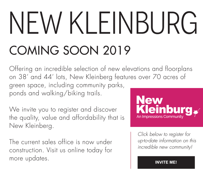 Offering an incredible selection of new elevations and floorplans on 38' and 44' lots, New Kleinberg features over 70 acres of green space, including community parks, ponds and walking/biking trails.