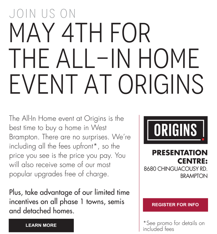 Join us on May 4th for  the All-In Home Event at Origins
