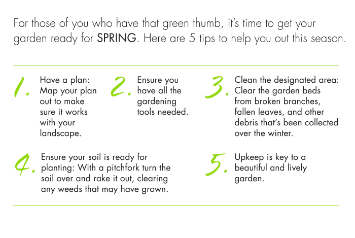 Clean the designated area: Clear the garden beds from broken branches, fallen leaves, and other debris that's been collected over the winter.  4. Ensure your soil is ready for planting: With a pitchfork turn the soil over and rake it out, clearing any weeds that may have grown.  5. Upkeep is key to a beautiful and lively garden.